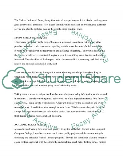 Work and education experience Personal Statement example