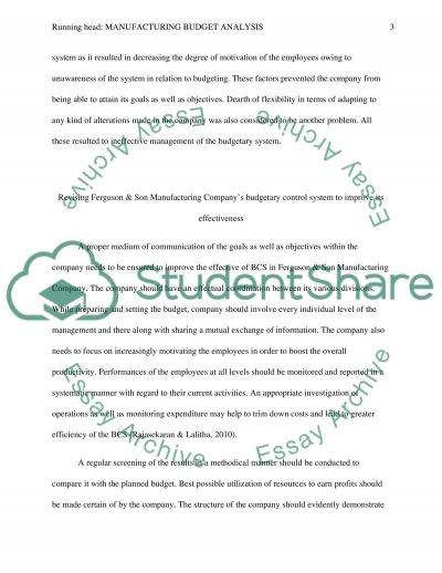 Manufacturing Budget Analysis essay example