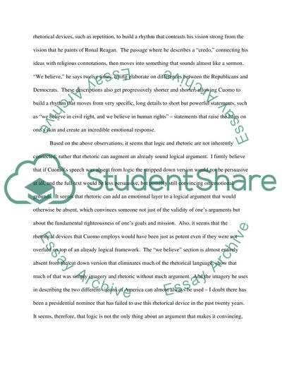 Cuomos Speech Essay