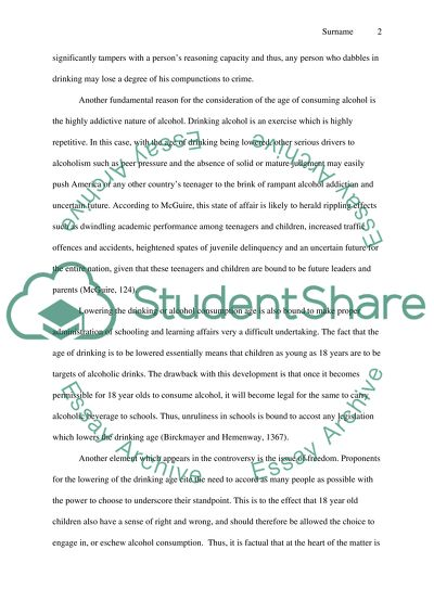 Lowering drinking age essay