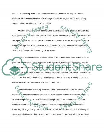 The Effects of the Leadership Style of the High School Principal on School Climate and Academic Achievement essay example