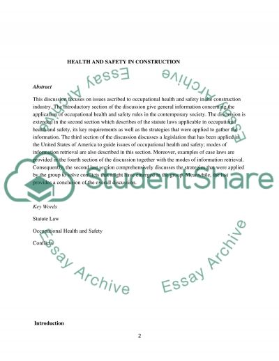 Health and safety in construction essay example