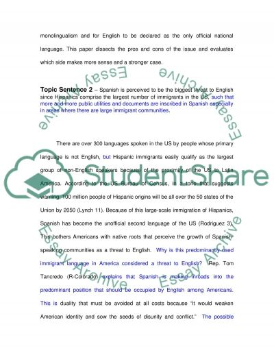 English as Only US Official Language essay example