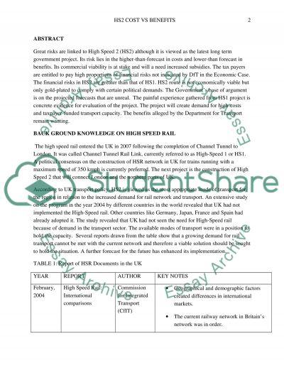 HS2- cost vs benefits essay example