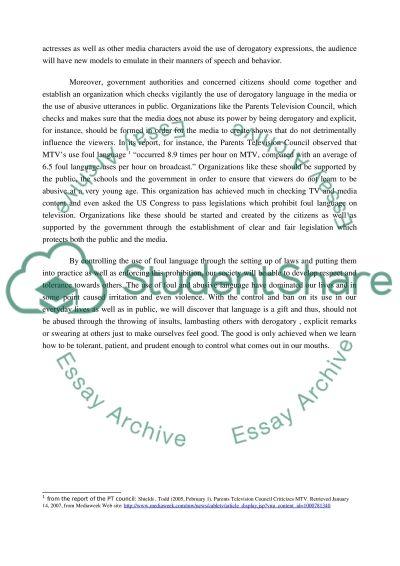 The use of foul language essay example