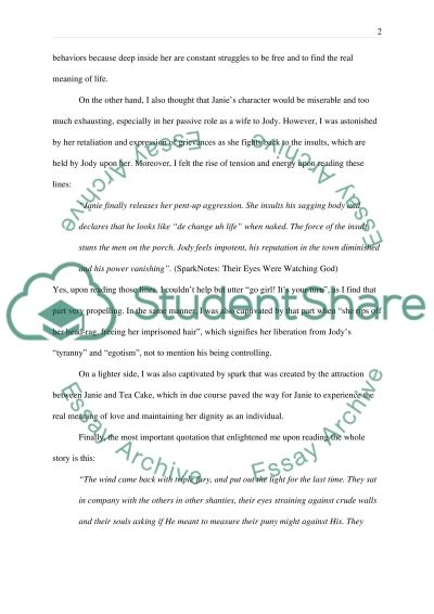 Their Eyes Were Watching God essay example