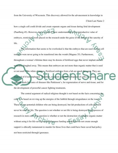 Legalization of Stem Cell Research essay example