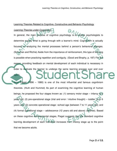 Learning Theory Essay Example  Topics And Well Written Essays  Learning Theory