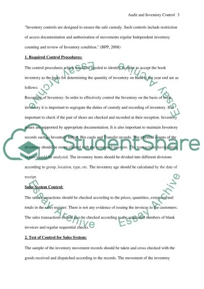Audit and Internal Control Essay essay example