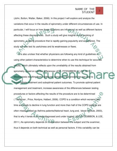 Diffences in the Spirometry Results essay example