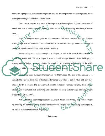 Prospectus essay example