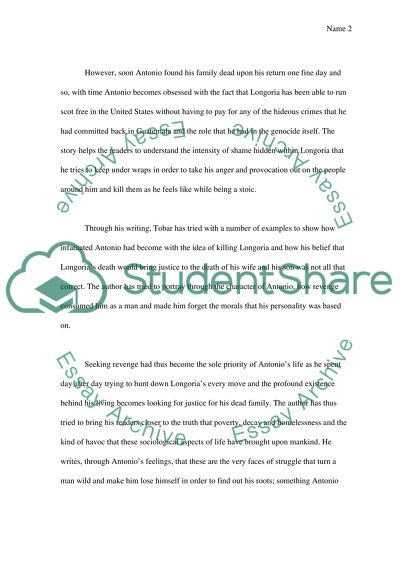 English essay on the novel the tatooed soldier (author hector tobar)
