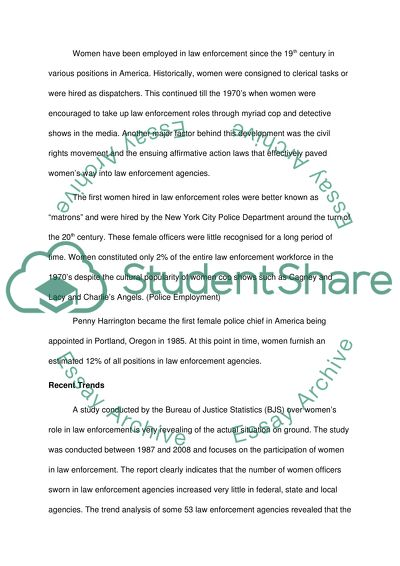 Woman in Law Enforcement Term Paper Example   Topics and