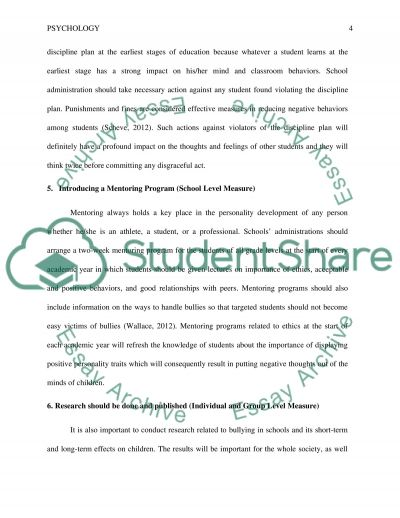 read text - Bullying Essay Example