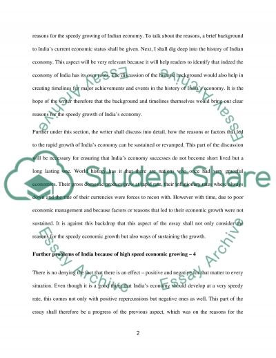 Reasons of the speedy growing and futher problems of Indian Economic essay example