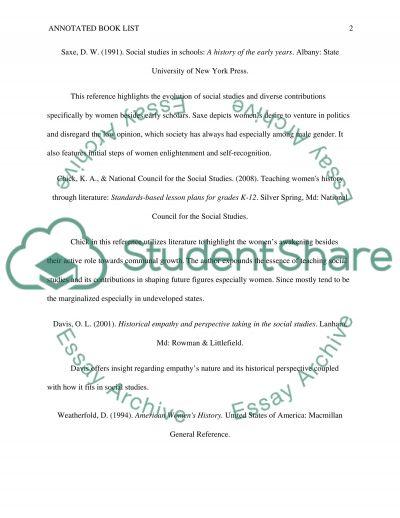 Annotated book list /Social studies book list/ lesson plan
