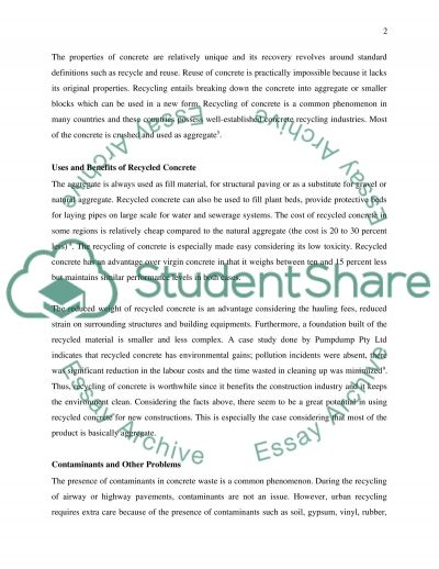 Recycling of concrete essay example