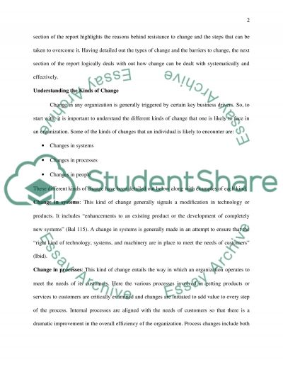 Coping with Change at the Workplace essay example