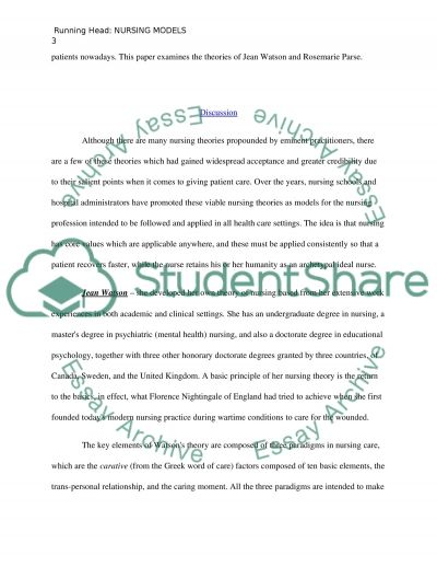 Compare and contrast the nursing theorist models of Parse and Watson essay example