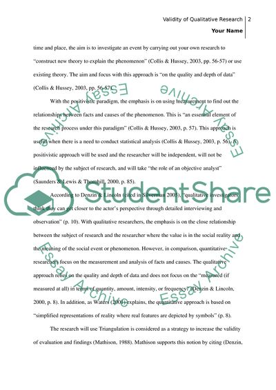 Essay on the topic of validity in Qualitative research