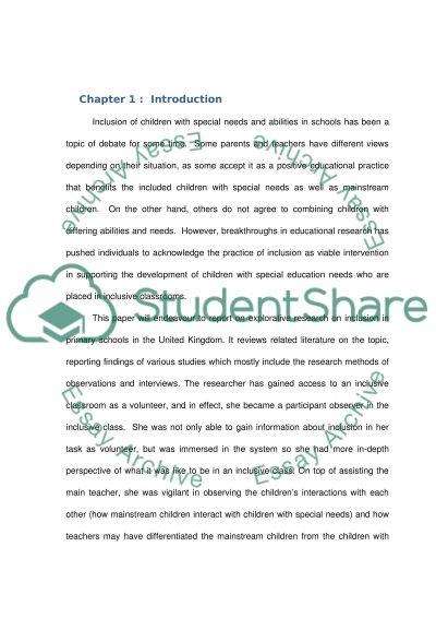 Exploring Inclusion in a United Kingdom School essay example