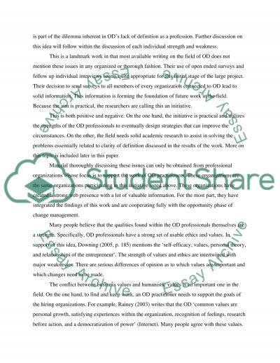Organisation Development- Academic Review essay example