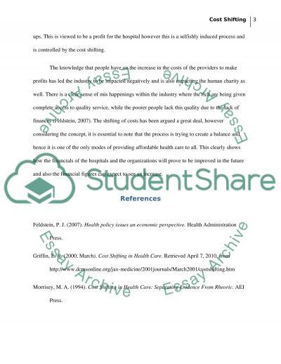 U01d2 Cost Shifting essay example