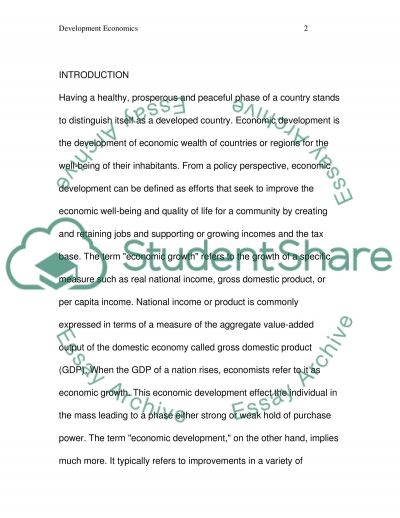 Economics of Development essay example