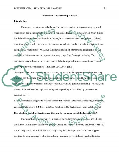 Interpersonal Relationship Analysis Assignment essay example