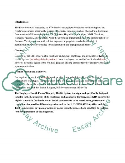 Employee Health Plan 2010 essay example