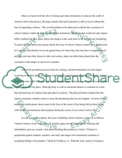 School violence essay example