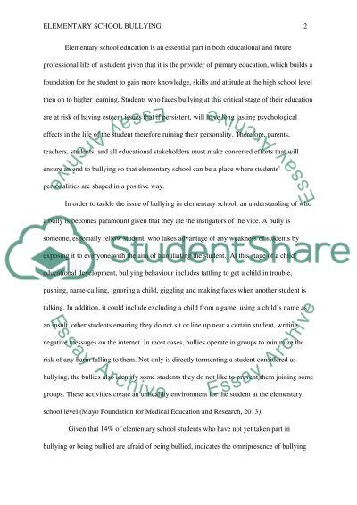 Elementary School Bullying
