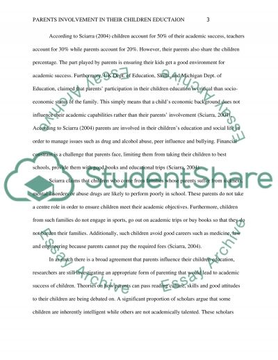 Parents Involvement in Their Children Education essay example