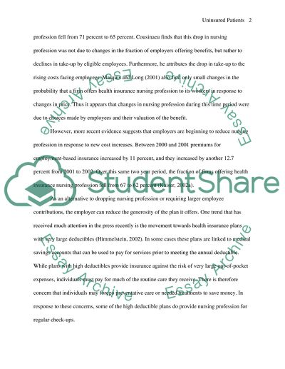 Wonder Of Science Essay Uninsured Patients In Relation To Nursing Profession In America Thesis For Compare And Contrast Essay also Purpose Of Thesis Statement In An Essay Uninsured Patients In Relation To Nursing Profession In America Essay English Essay