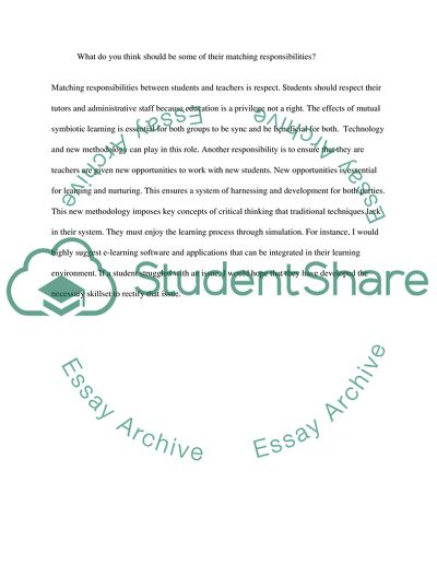 State some of the major student rights. What do you think should be some of their matching responsibilities illustrate