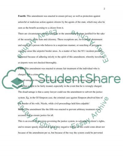 Bill of Rights essay example