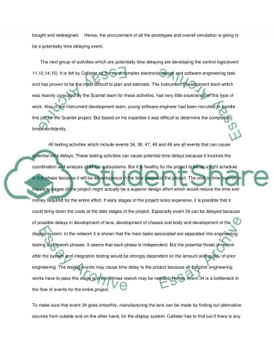 Project Management (CASE STUDY) Essay example