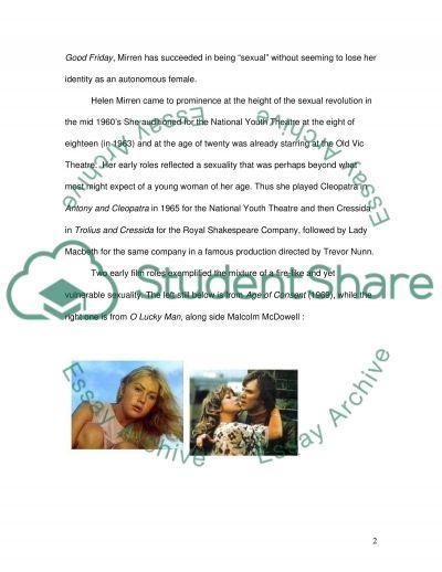 Star Image of Helen Mirren essay example