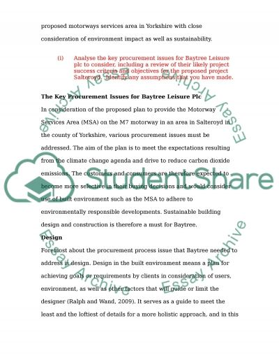 Baytree Procurement for MSA Project essay example