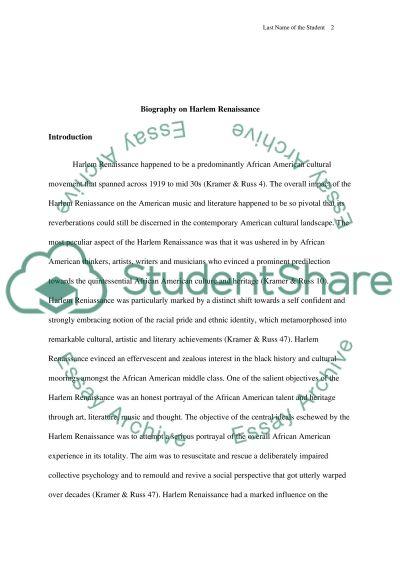 Biography on Harlem Renaissance essay example