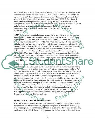 Disaster preparedness essay example