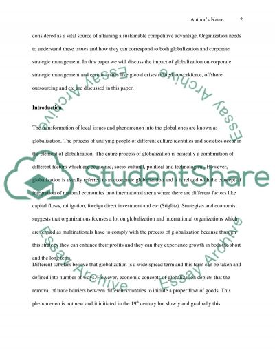 Global Strategic Management Essay example