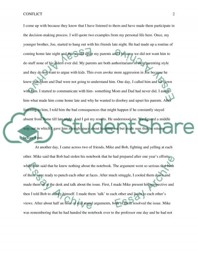 Moderating and Minimizing Conflict essay example