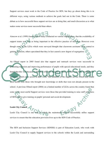 Support Services and Mainstream Schools essay example