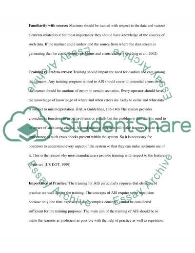 AIS and the training issues essay example