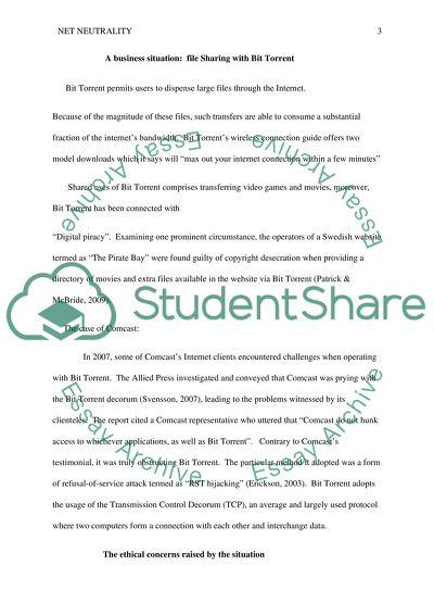 The net neutrality debate - Essay Example