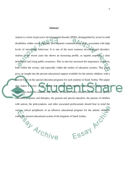 Autism as a form of pervasive developmental disorder (PDD) essay example