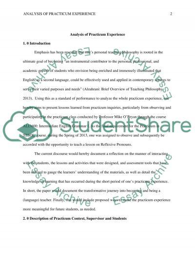 Course: Practicum in TESOL, G. Analysis of Practicum Experience