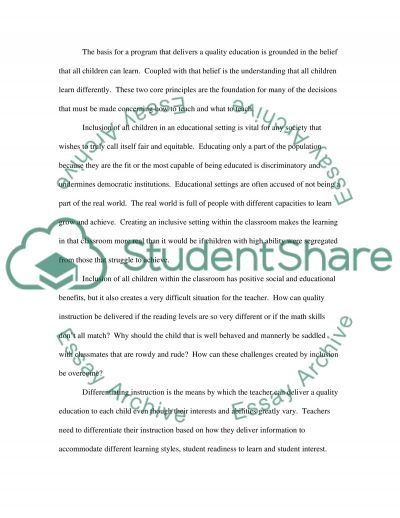 Philosophy of Education essay example