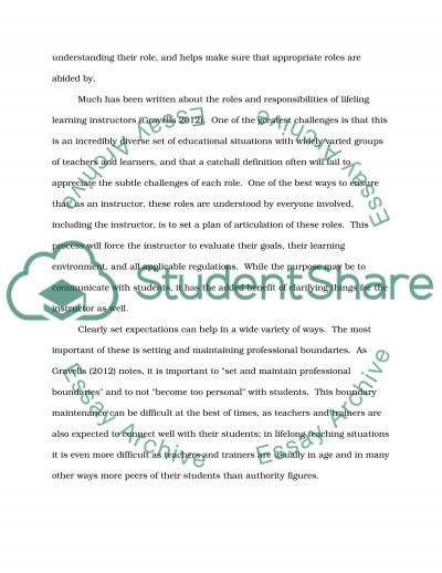 Roles, Responsibilities and Relationships in Lifelong Learning essay example